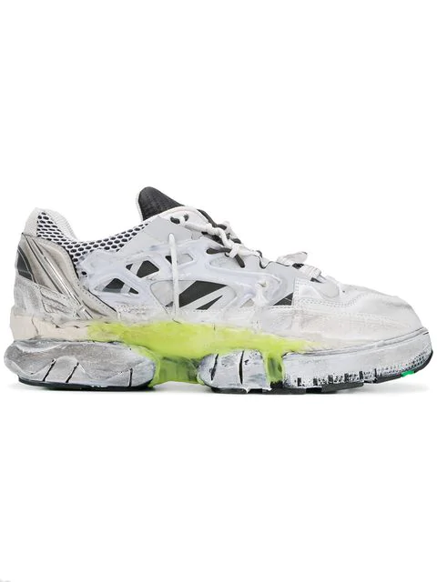 Maison Margiela Fusion Low-Top Reconstructed Leather Trainers In White