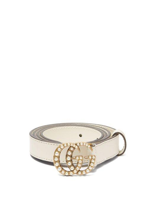 23f150f55 Gucci Faux Pearl-Embellished Gg-Logo 2Cm Leather Belt In Cream ...