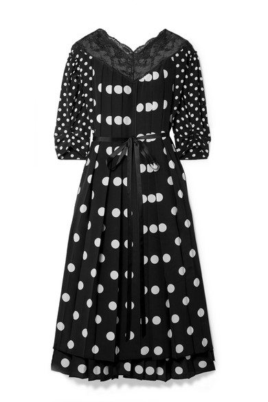 Marc Jacobs Lace-Trimmed Pleated Polka-Dot Silk Crepe De Chine Midi Dress In Blk