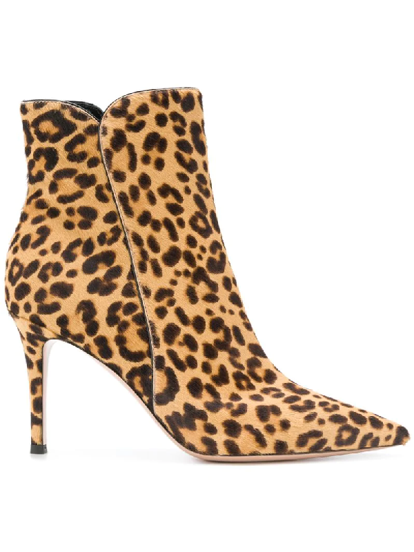 db9d140fabaa Gianvito Rossi Levy 85 Leopard-Print Calf Hair Ankle Boots In Leopard Print