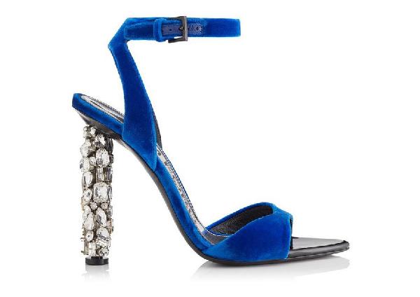 Tom Ford Velvet Ankle-Strap Sandal With Crystal Heel In Imperialblue