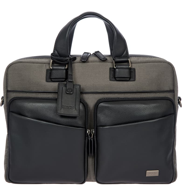 Bric's Monza Briefcase - Grey In Grey/ Black