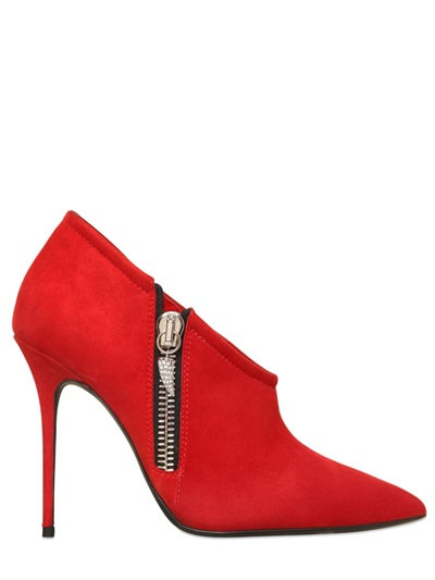 Giuseppe Zanotti Suede Embellished Zip Booties In Red