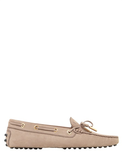 Tod's Heaven Laccetto Nubuck Driving Shoes, Beige