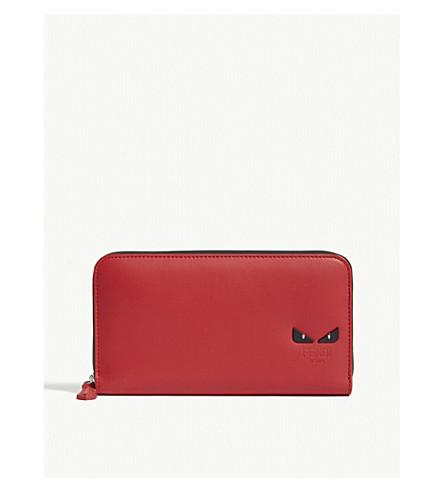 3455e00728 Monster Eyes Leather Continental Wallet in Red