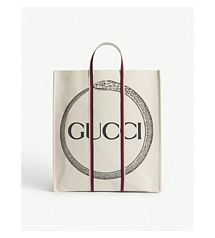 679b1645cefe Gucci Cabas Snake Canvas Tote In Natural   ModeSens