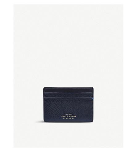 Smythson Burlington Leather Card Holder In Navy