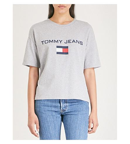 40062e3a Tommy Jeans 90S Logo-Print Cotton-Jersey T-Shirt In Light Grey Htr ...