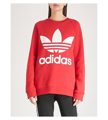 Logo print Cotton jersey Sweatshirt In Real Red