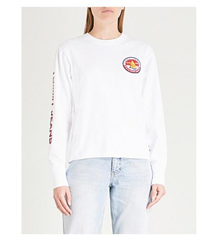 74654444 Tommy Jeans '90S Logo-Print Cotton-Jersey Long-Sleeved Top In Bright.  Selfridges. 44Login to see price