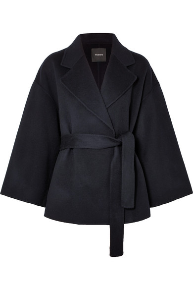 0a295917959 Theory Notched-Collar Belted New Divide Wool-Cashmere Robe Jacket In Navy
