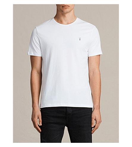 Allsaints Brace Crewneck Cotton-jersey T-shirt In Optic White