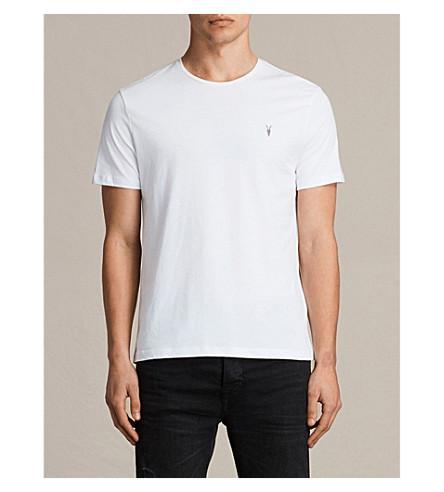 Allsaints Brace Crewneck Cotton-Jersey T-Shirt In Optic White