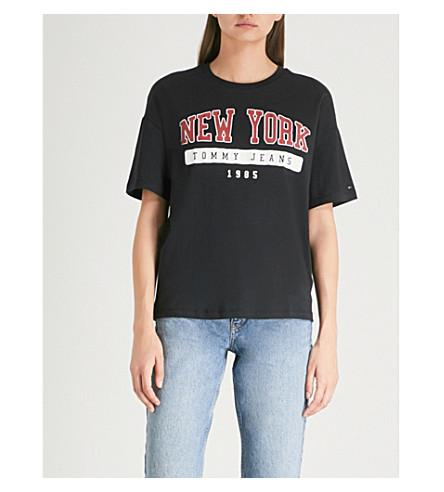4985f35f Tommy Jeans New York Cotton-Jersey T-Shirt In Black | ModeSens