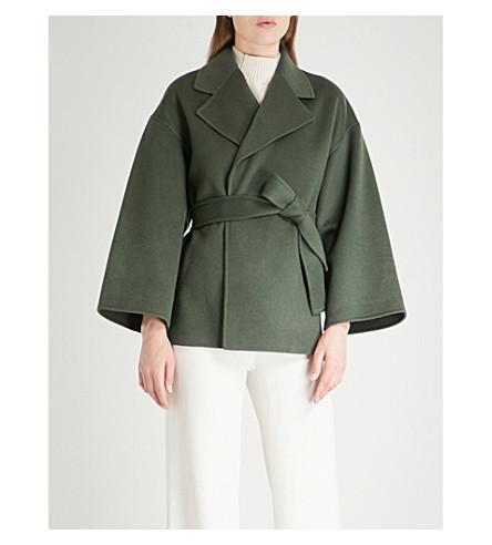 Theory Cropped Wool And Cashmere-Blend Coat In Spanish Green