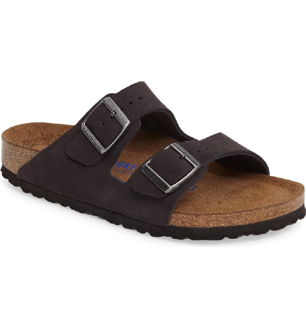 Birkenstock Women's Arizona Washed Leather Slide Sandals In Velvet Grey Suede