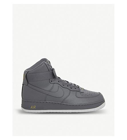 first rate 01881 c483b Air Force 1 Leather High-Top Trainers in Cool Grey White
