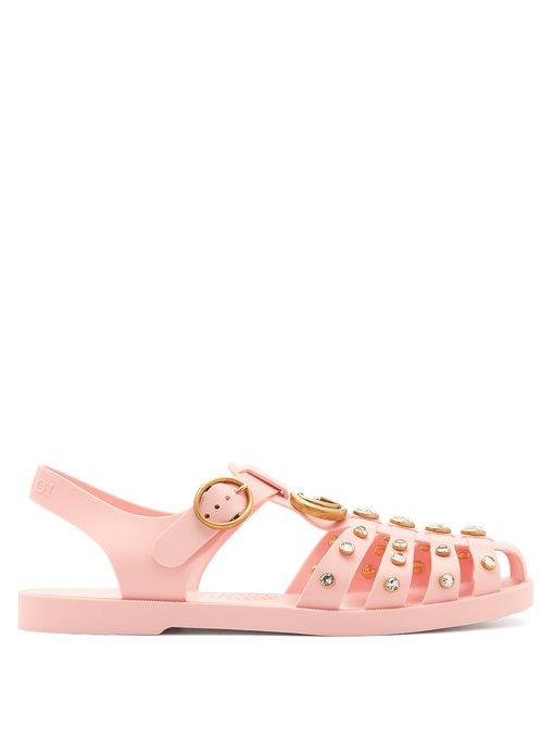 c70e5ca4a Gucci Embellished Rubber Sandals In Light Pink | ModeSens