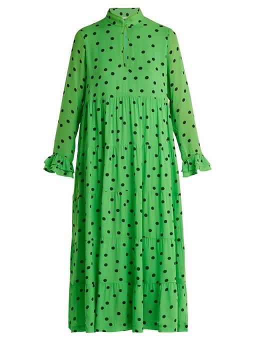 104be657535 Ganni Dainty Polka Dot-Print Crepe-Georgette Dress In Green
