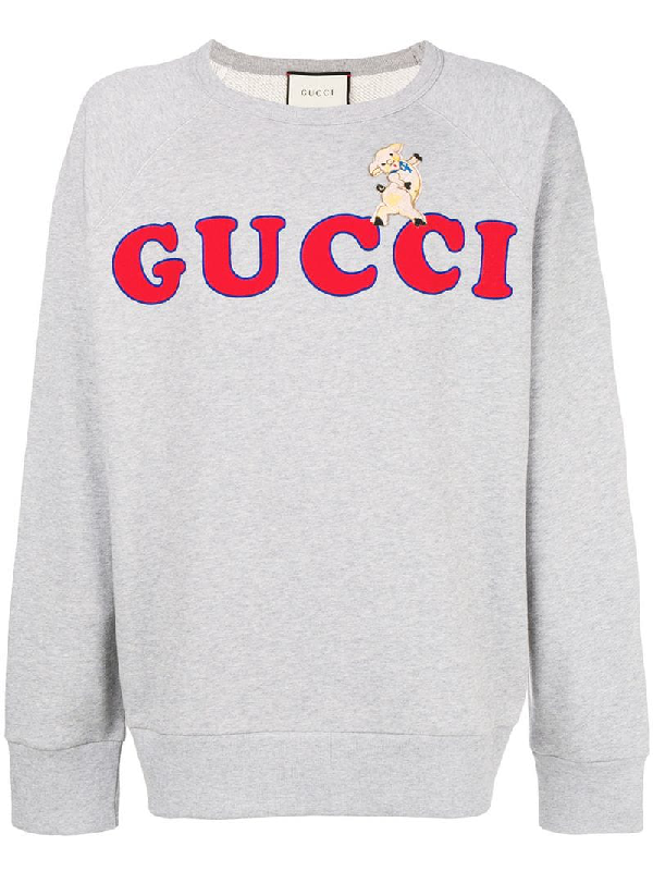 fd6f74d68 Gucci Pig Patch Cotton Knit Sweater In 1111 Grey