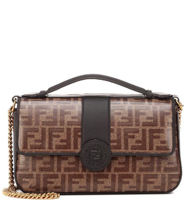 Fendi Double-F Leather & Canvas Shoulder Bag - Black In Brown,Black