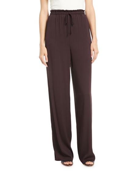 The Row Jr Tie-Waist Straight-Leg Silk Pants In Dark Red