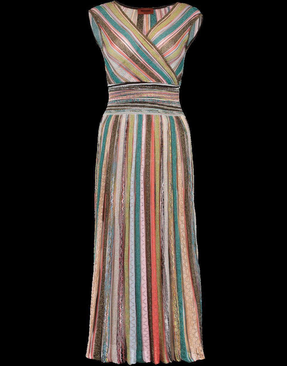 4caa2d128f8 Missoni Metallic-Striped V-Neck Knitted Dress In White Multi