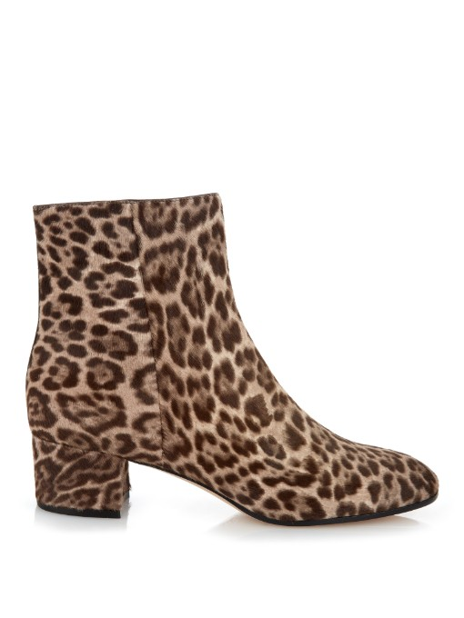 Gianvito Rossi Leopard-Print Calf-Hair Ankle-Boots In Brown-Tone Leopard-Print