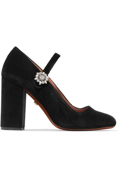 Alexa Chung Black Velvet Mary-jane Crystal Flower Heels