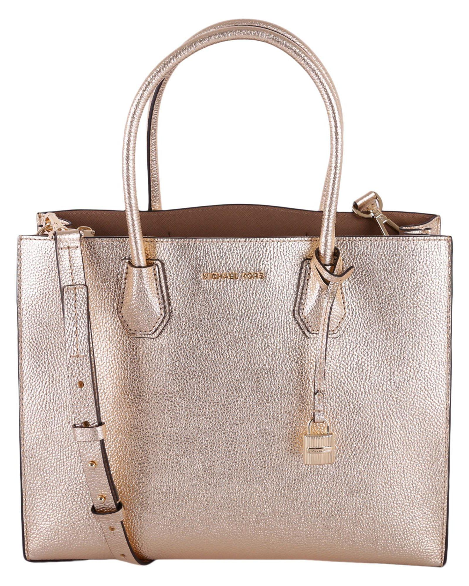 c9d9a011b256 Michael Michael Kors Mercer Large Metallic Leather Tote In Pale Gold ...