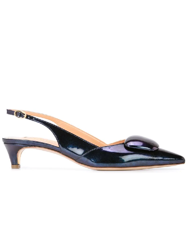 Rupert Sanderson Patent Leather Slingback Pumps In Blue