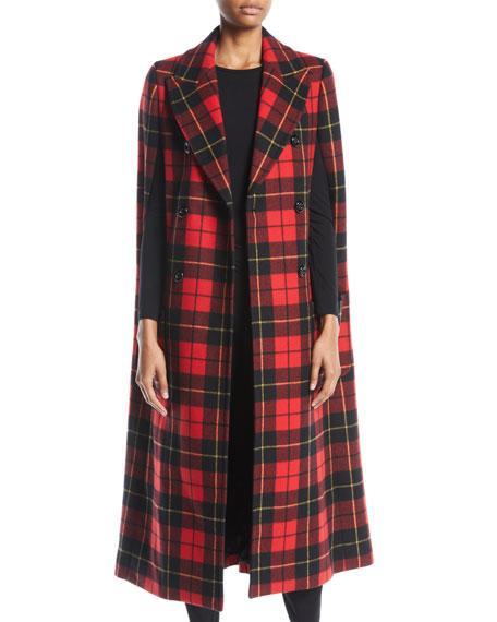 Michael Kors Double-Breasted Tartan Plaid Cape Coat In Crimson Multi