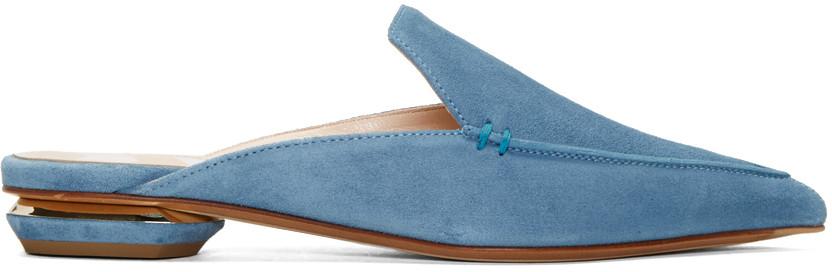 Nicholas Kirkwood Blue Suede Beya Slip-on Loafers In B44 Bluebir