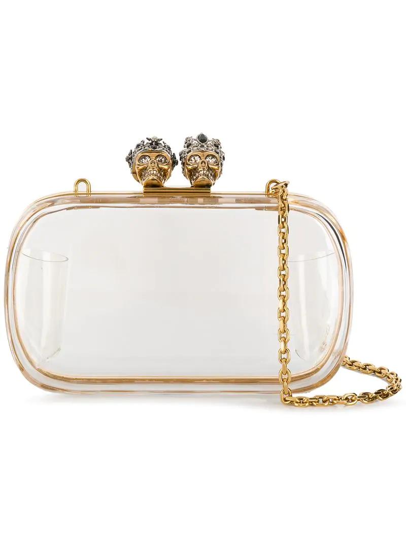 902489fcfd Alexander Mcqueen Queen & King Transparent Box Clutch - White In Neutrals