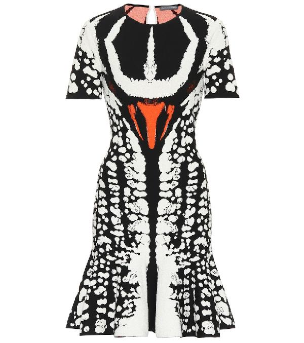 83c28686a4e ALEXANDER MCQUEEN. Crewneck Short-Sleeve Abstract Bug-Jacquard Flared Knit  Dress ...