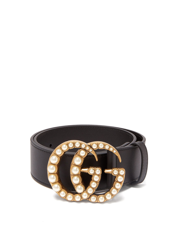 59f8d304f Gucci Leather Belt With Pearl Double G In Black | ModeSens