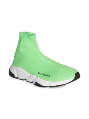 Balenciaga Men's Speed Mid-Top Trainer Sock Sneakers In Green