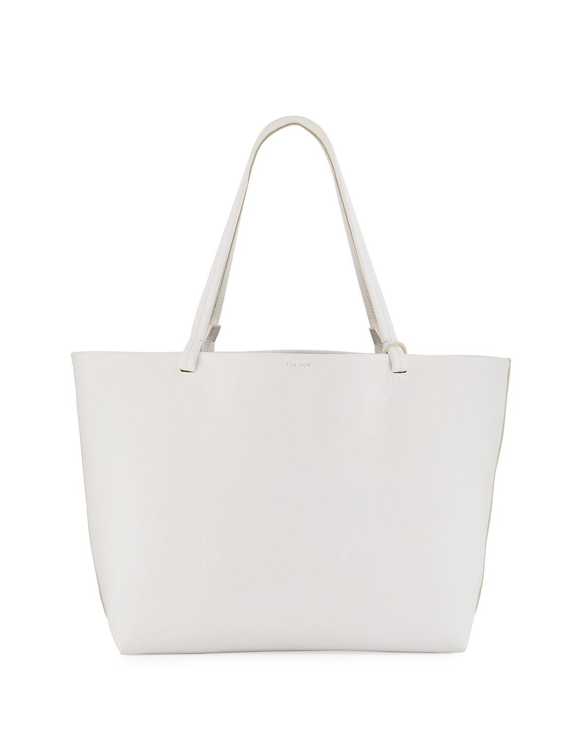 e8da9871b6 The Row Park Lux Grained Leather Shopper Tote Bag In White