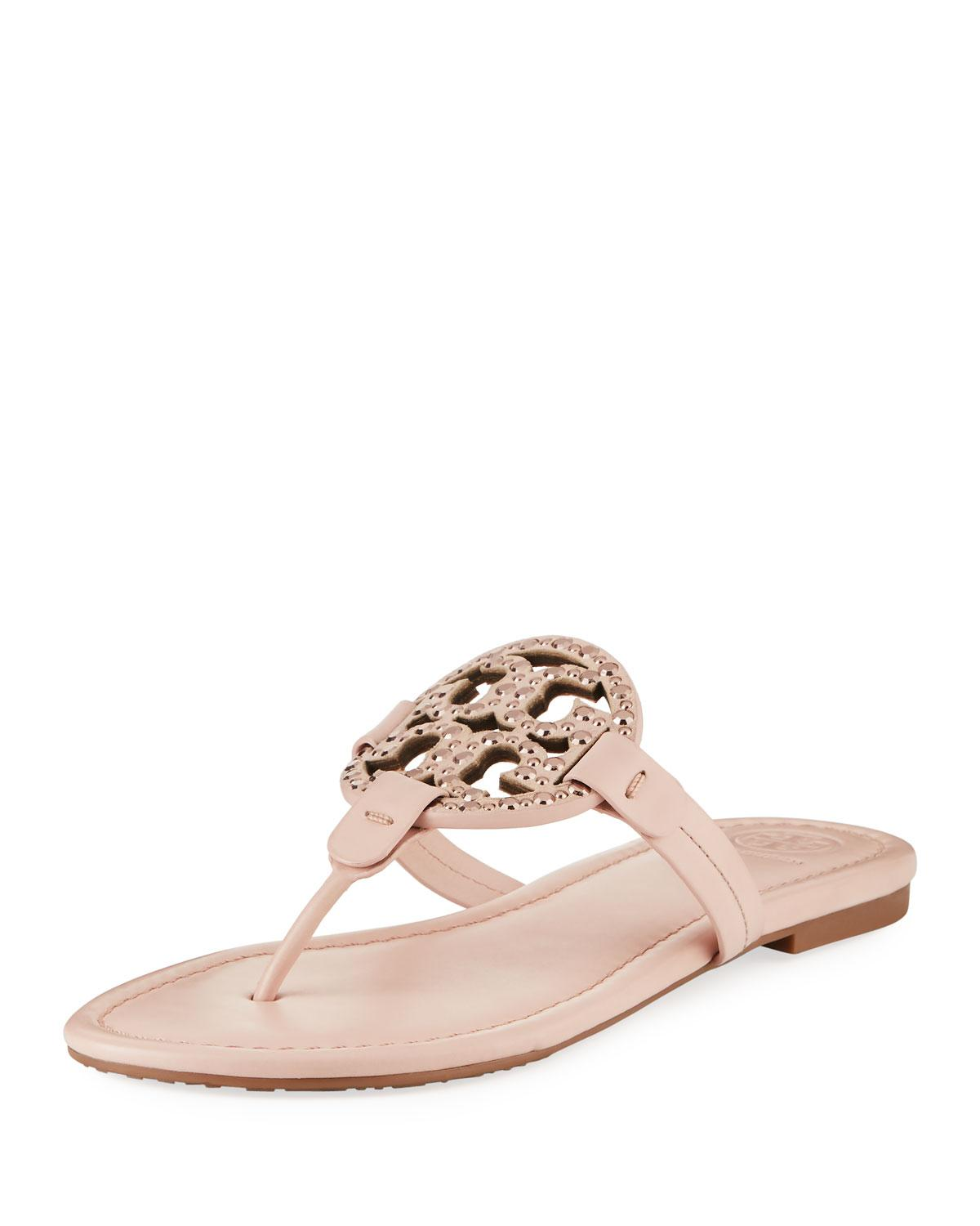 de2b29604065f Tory Burch Miller Medallion Embellished Flat Sandal In Sea Shell Pink