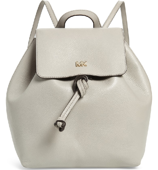 bf1715395d71 Michael Michael Kors Junie Medium Leather Flap Backpack In Pearl Grey