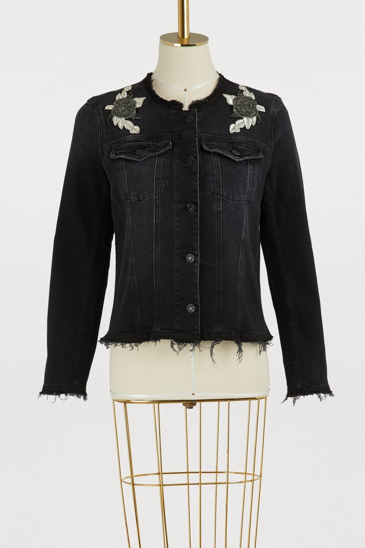 7 For All Mankind Embellished Denim Jacket In Blackened