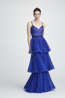 Sleeveless Striped Lace Tiered Gown In Royal Blue
