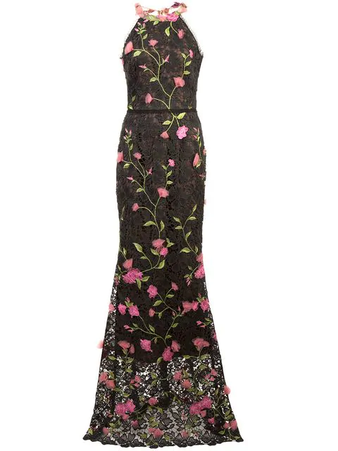 Marchesa Notte Lace Fitted Long Dress In Black