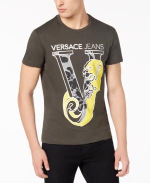 Versace Jeans Men's Leopard Logo-Print T-Shirt In Lt/Pas Grn