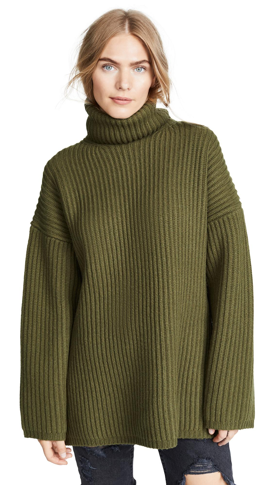 5957a5a91 Acne Studios Ribbed Turtleneck Sweater Khaki Green