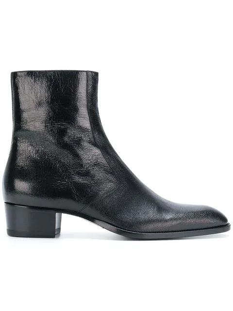 199d1218eec Saint Laurent Wyatt Zippered Ankle Boots In Crinkled Metallic ...