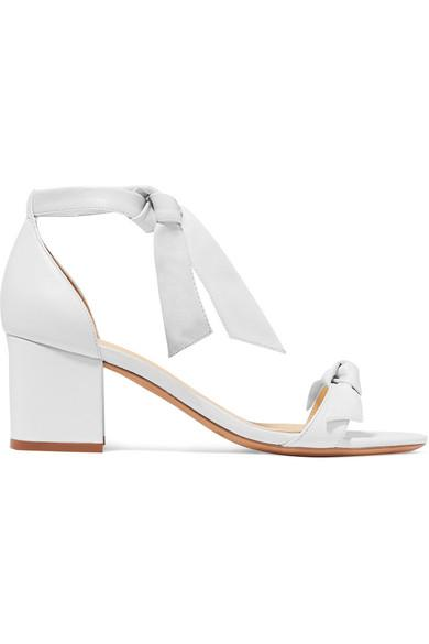 Alexandre Birman Clarita Bow-Embellished Leather Sandals In White