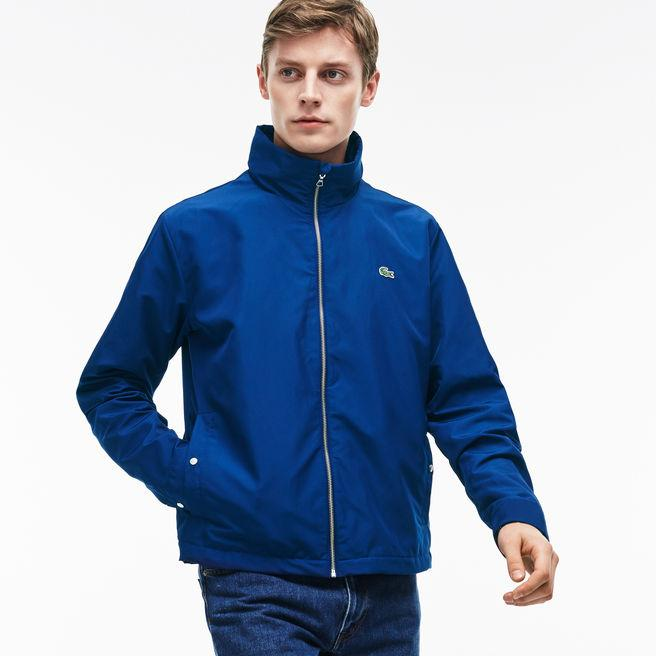 a137f9f05e4fd Lacoste Men S Unicolor Nylon Contrasting Accents Hooded Zippered Jacket In  Navy Blue