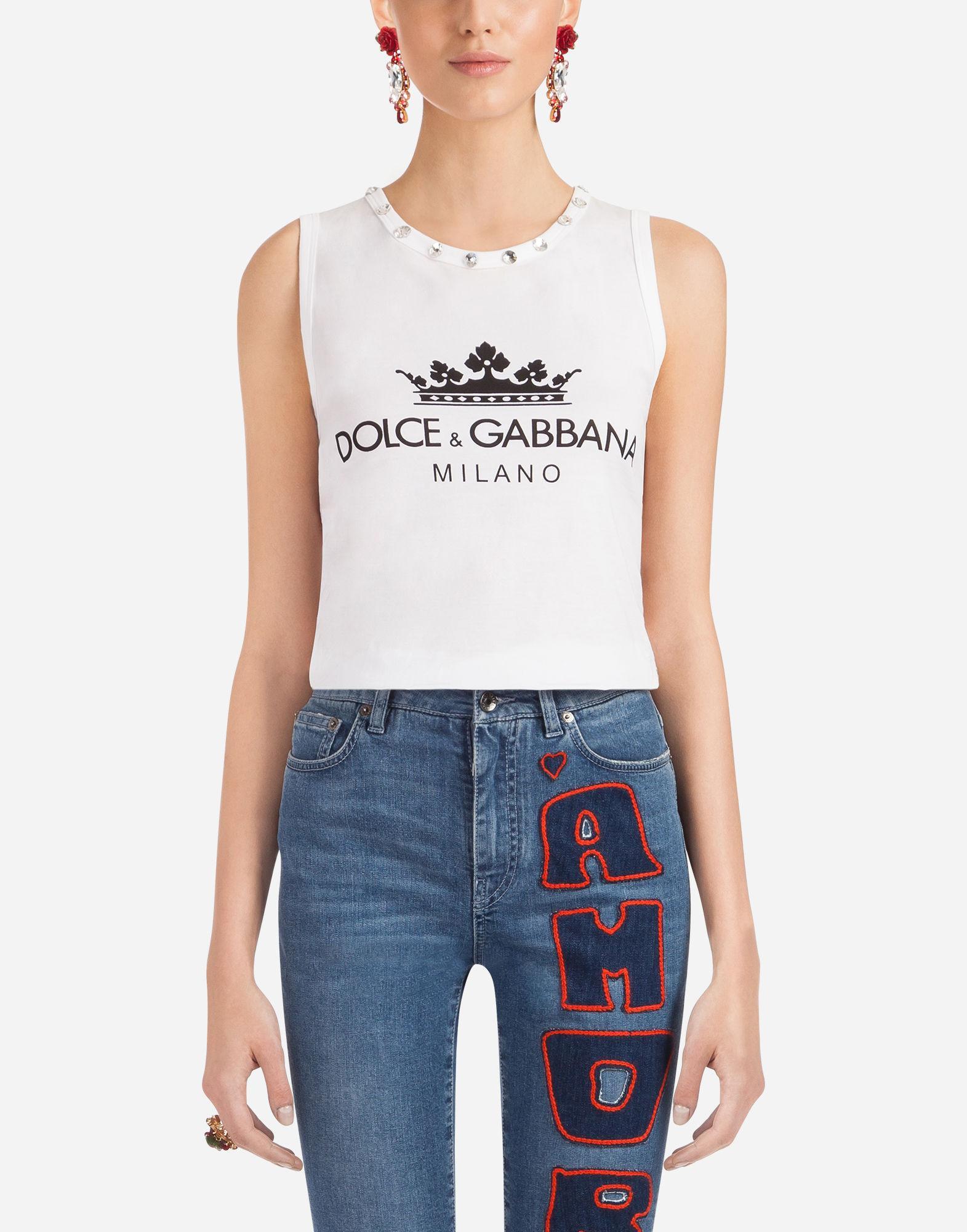 Dolce & Gabbana Sleeveless Cotton T-Shirt In White