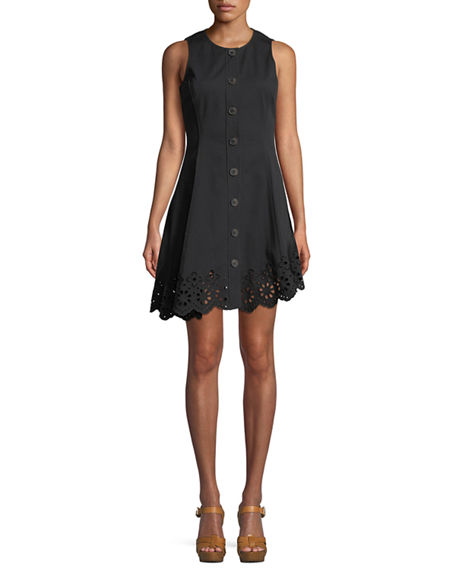 838ae18fa22e60 Derek Lam 10 Crosby Sleeveless Button-Down Cotton Dress With Scalloped Hem  In Black